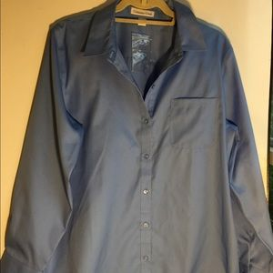 COLDWATER CREEK NWTS BLUE DRESS SHIRT SIZE LARGE